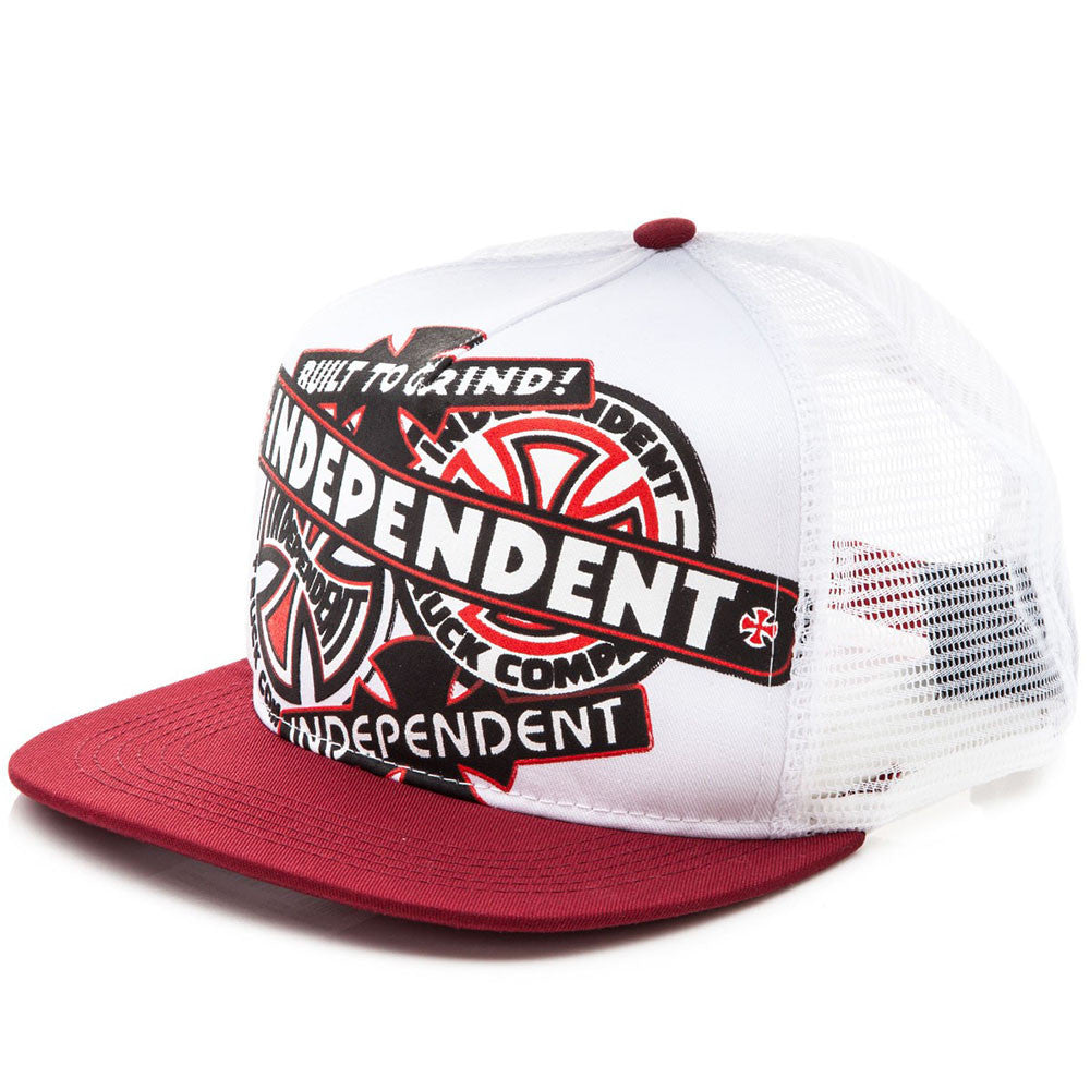 Independent Sticker Pack Trucker Mesh Hat - OS - White/Red - Men's Hat
