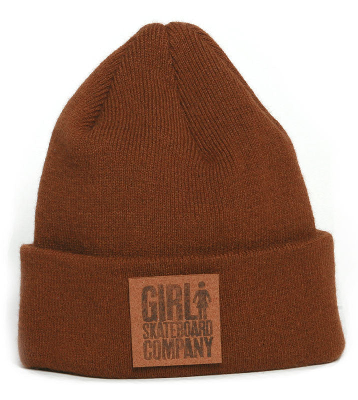 Girl Leather Patch Folded - Brown - Men's Beanie