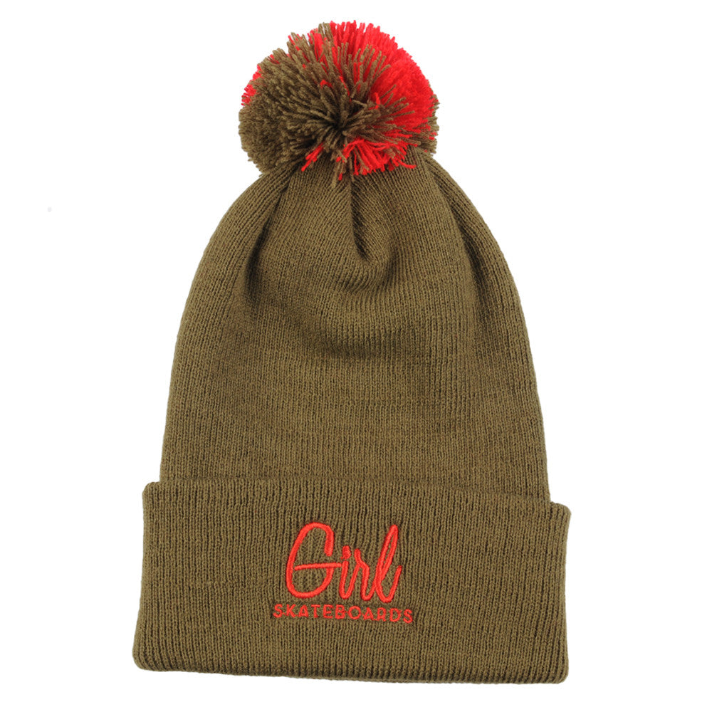 Girl Century Embroidered Pom - Khaki - Men's Beanie
