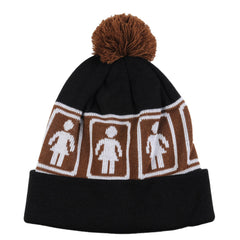 Girl OG Pom - Brown/Black - Men's Beanie