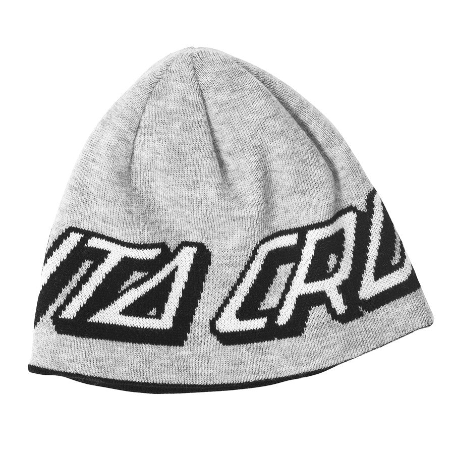 Santa Cruz Strip Dot Skull Cap Reversible - One Size Fits All - Heather Grey/Black - Men's Beanie