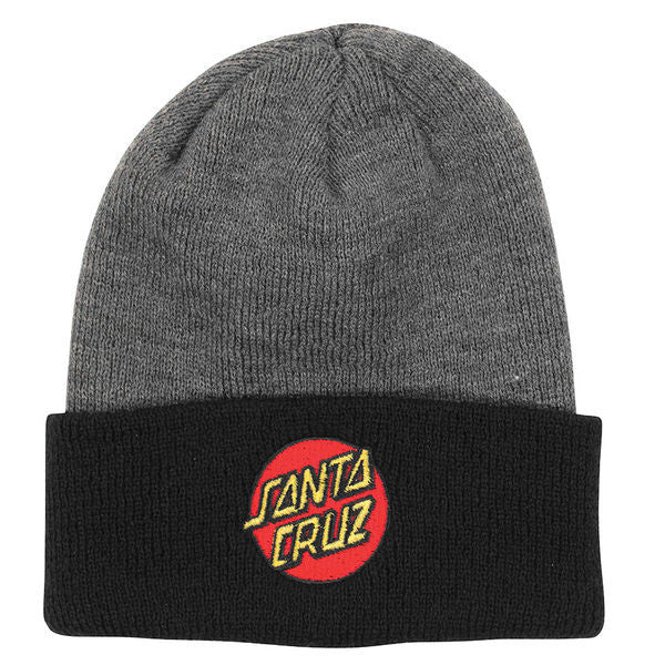 Santa Cruz Classic Dot Long Shoreman - One Size Fits All - Grey/Black - Men's Beanie