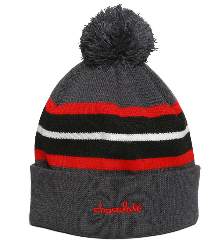 Chocolate Chunk Stripe Pom - Charcoal - Men's Beanie