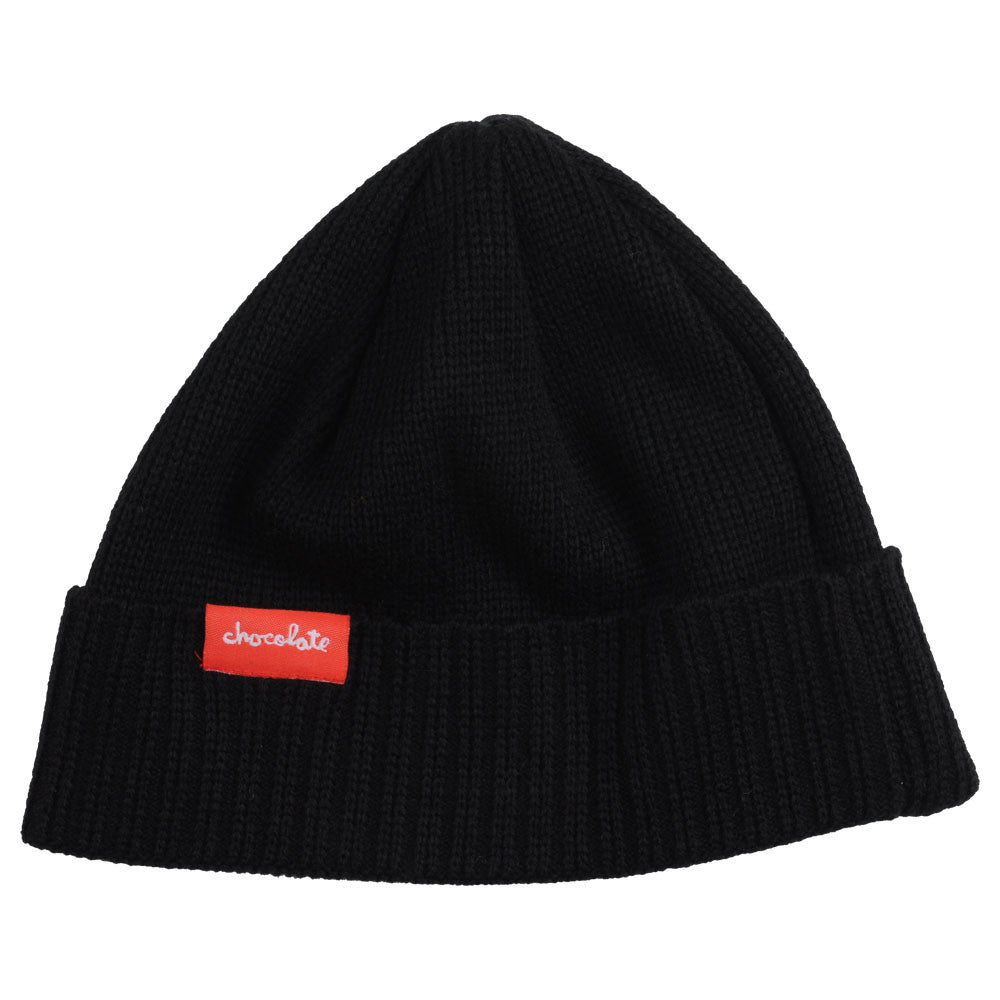 Chocolate Chunk Label Fold - Black - Men's Beanie