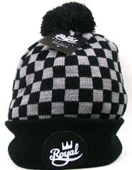 Royal Crown Script Pom - Black/White - Men's Beanie