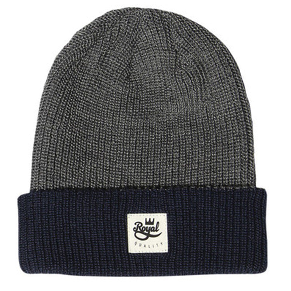 Royal 2 Tone Patch Fold - Grey - Men's Beanie