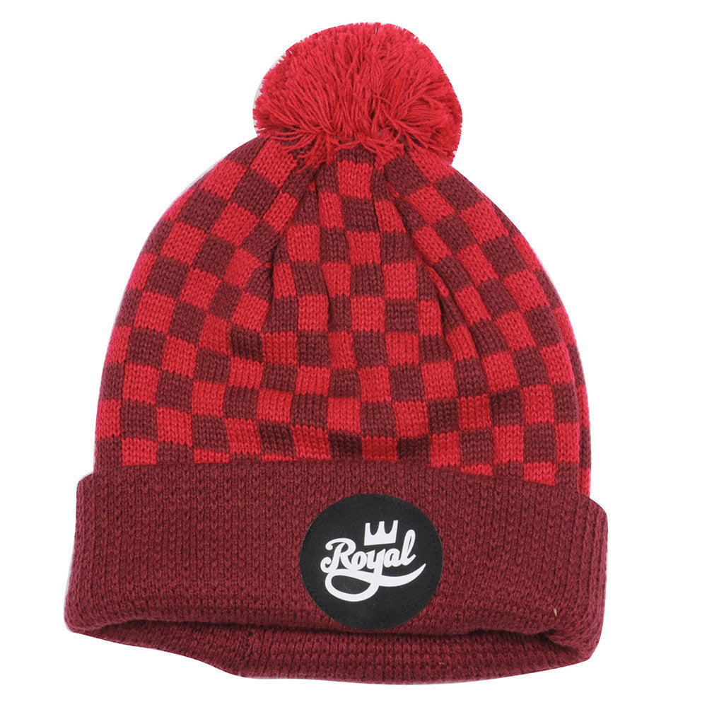 Royal Crown Script Pom - Red - Men's Beanie
