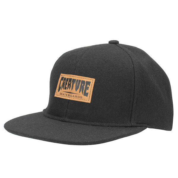 Creature Logo Wool - Black - Adjustable Twill Snapback - Men's Hat