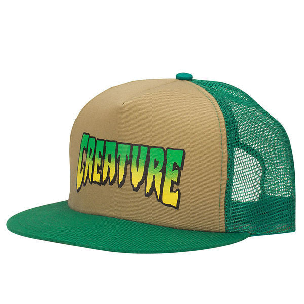 Creature Logo Trucker Mesh - Khaki/Forest - Adjustable - Men's Hat