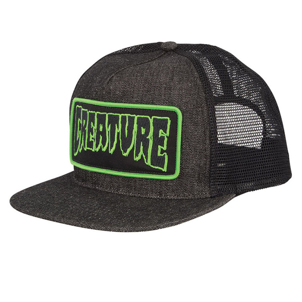 Creature Patch Trucker Mesh Hat - OS - Black Denim  - Men's Hat