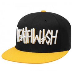 Deathwish Deathspray Snapback - Black/White/Yellow - Men's Hat