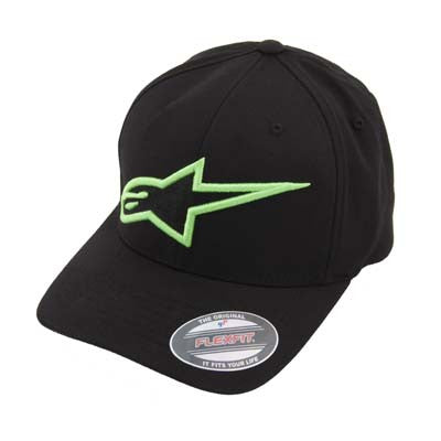 Alpinestars Logo Astar Flexfit - Men's Hat - Black/Green