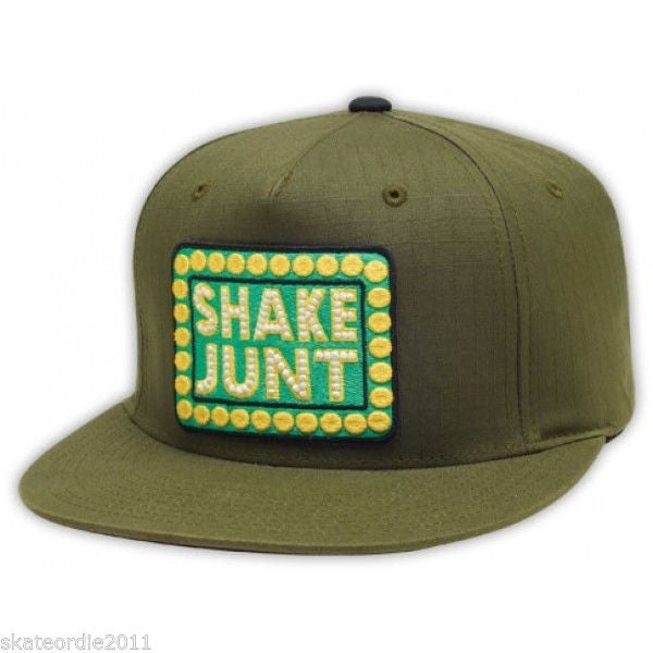 Shake Junt Box Logo Rip Stop Snapback - Green - Men's Hat