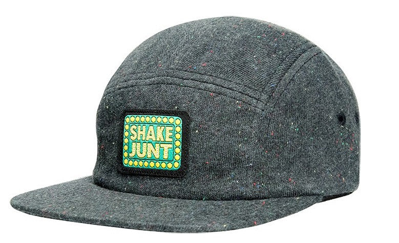 Shake Junt Box Logo Speckled 5 Panel Snapback - Grey - Men's Hat