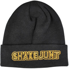 Shake Junt Stretch Logo - Black/Yellow - Men's Beanie