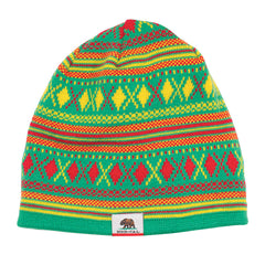 Nor Cal Hibernate Skull Cap - One Size Fits All - Green/Yellow/Red - Men's Beanie