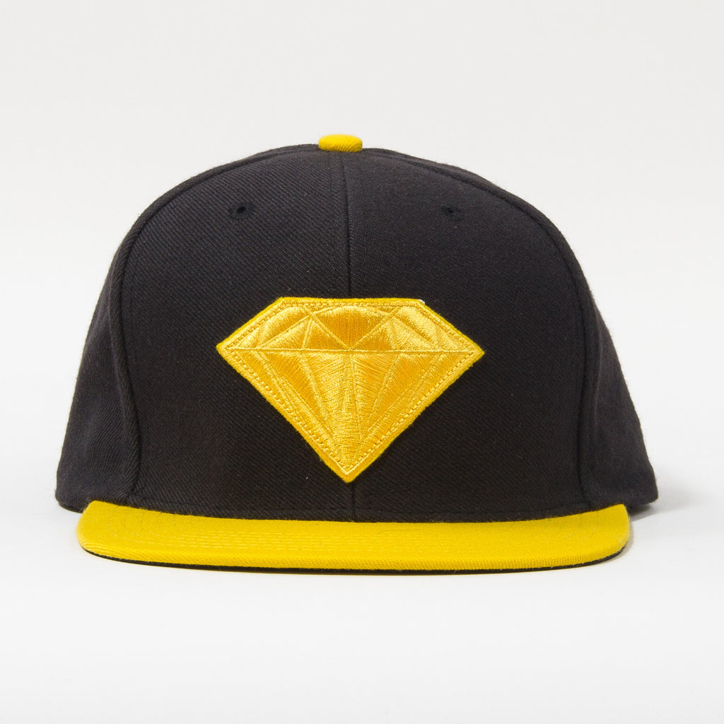 Diamond Emblem Snapback - Black/Yellow - Men's Hat