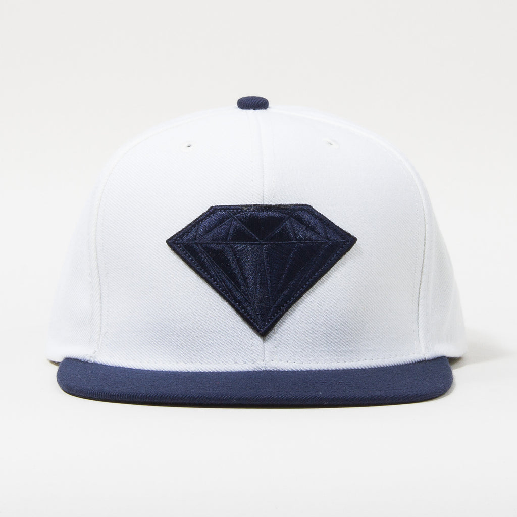 Diamond Emblem Snapback - White/Navy - Men's Hat