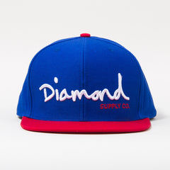 Diamond OG Script Snapback - Blue/White/Red - Men's Hat