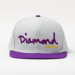 Diamond OG Script Snapback - Grey/Purple/Yellow - Men's Hat