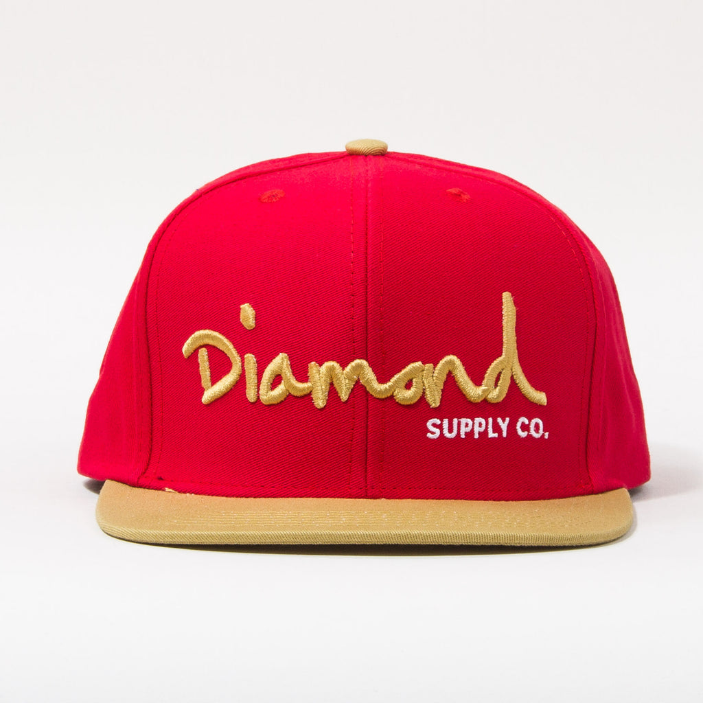 Diamond OG Script Snapback - Red/Tan/White - Men's Hat