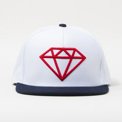 Diamond Rock Logo Snapback - White/Red/Navy - Men's Hat