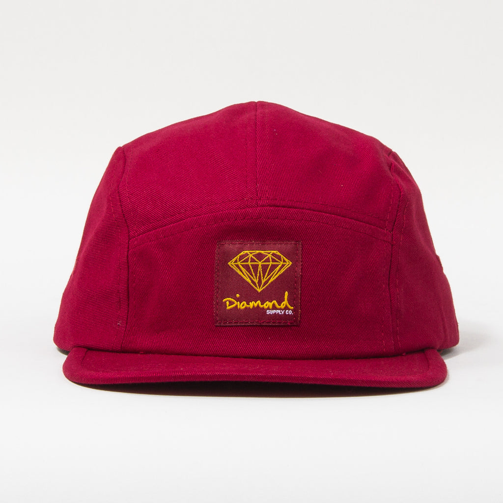 Diamond OG Sign 5-Panel Camp Hat Strapback - Burgundy - Men's Hat Strapback