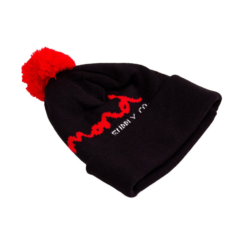 Diamond OG Script Pom - Black/Red - Men's Beanie