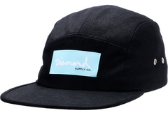 Diamond OG Script 5 Panel - Black - Men's Hat