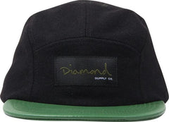 Diamond OG Wool 5 Panel Strapback - Black/Green - Men's Hat