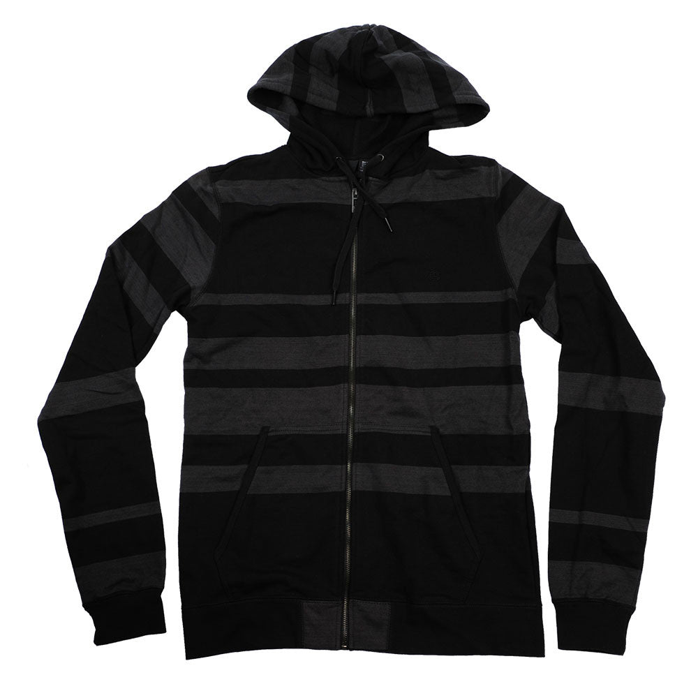 Element Striped Hooded Zip-up - Black/Grey - Men's Sweatshirt