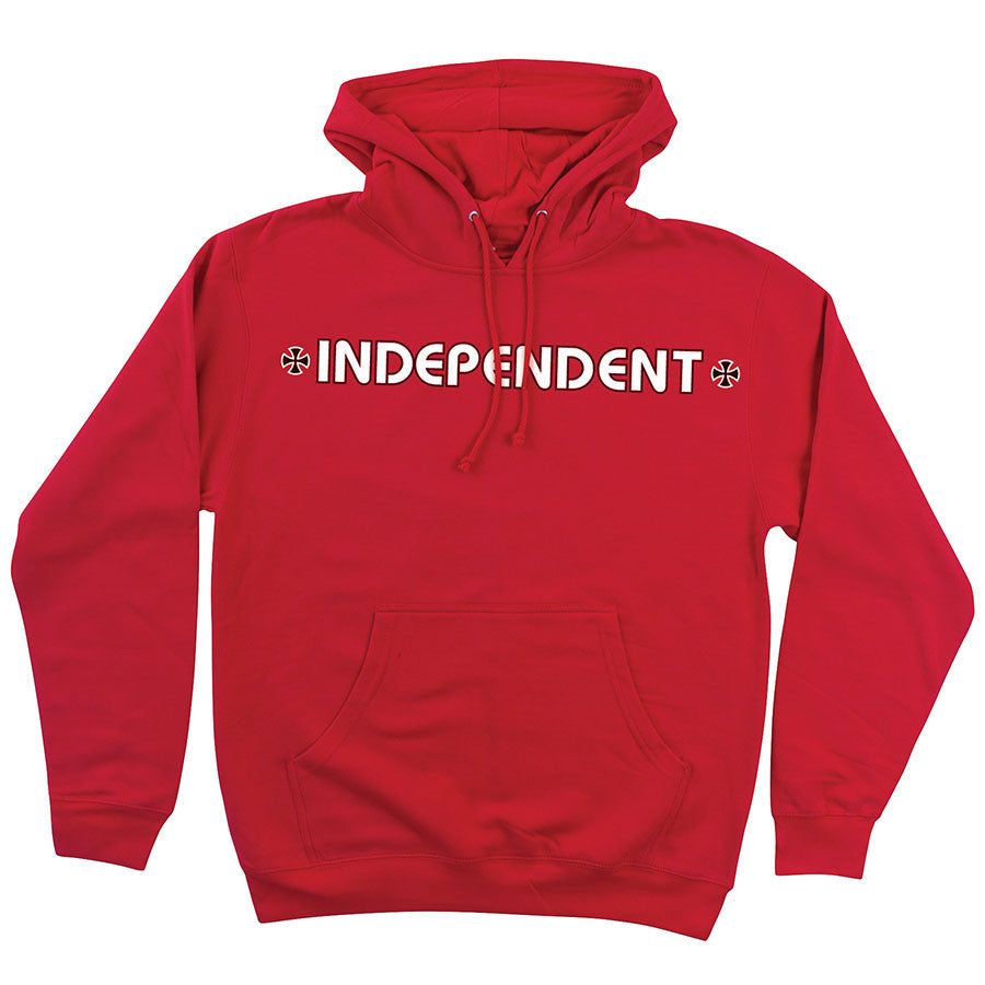 Independent Bar/Cross Pullover Hooded L/S - Red - Men's Sweatshirt