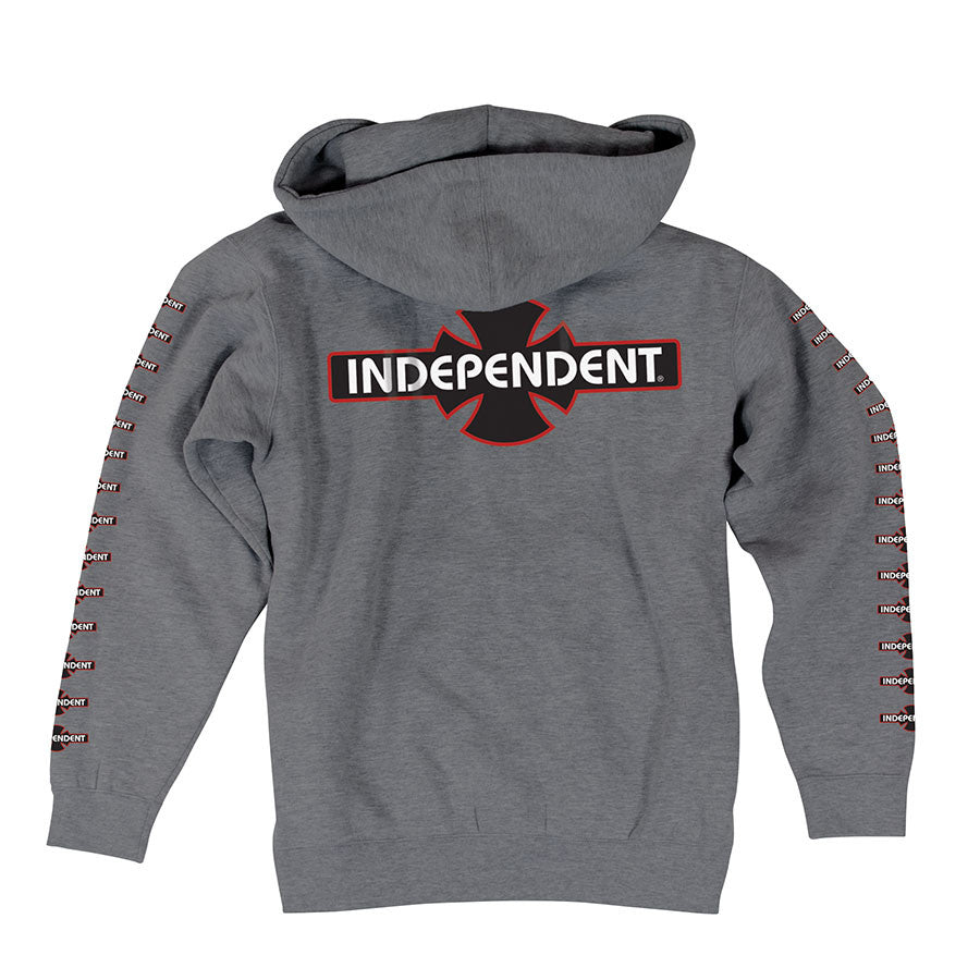 Independent O.G.B.C. Hooded Zip L/S - Gunmetal Heather - Men's Sweatshirt