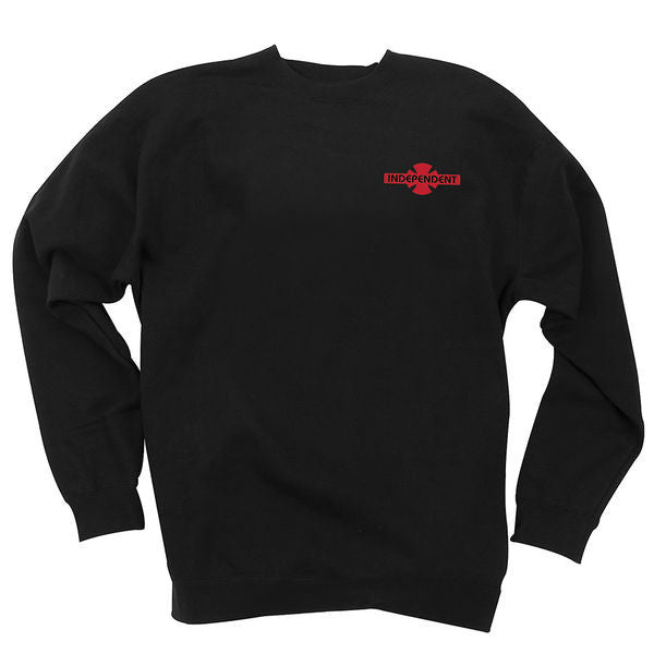 Independent O.G.B.C. Chest Crew Neck L/S - Black w/ Red - Men's Sweatshirt