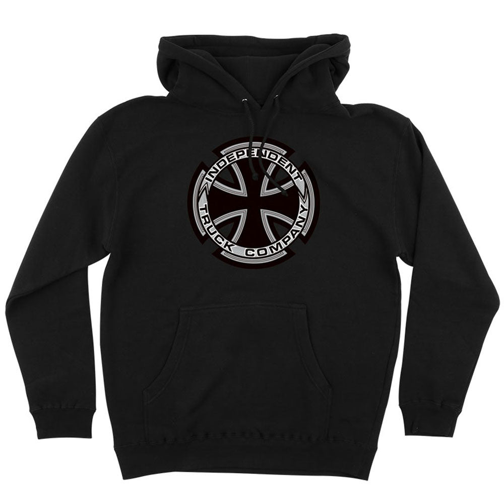 Independent Metallic Cross P/O Hooded L/S - Black - Men's Sweatshirt