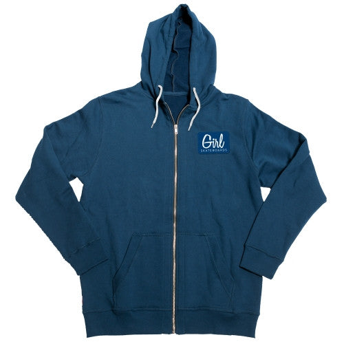 Girl Century Patch Zip Hoodie - Blue - Men's Sweatshirt