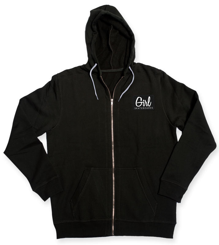 Girl Century Patch Zip Hoodie - Black - Men's Sweatshirt