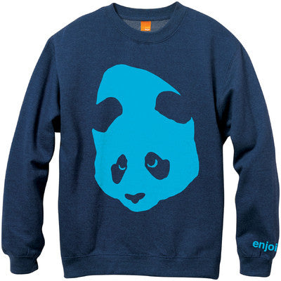 Enjoi Gigantic Face Crew Fleece - Navy/Heather - Mens Sweatshirt