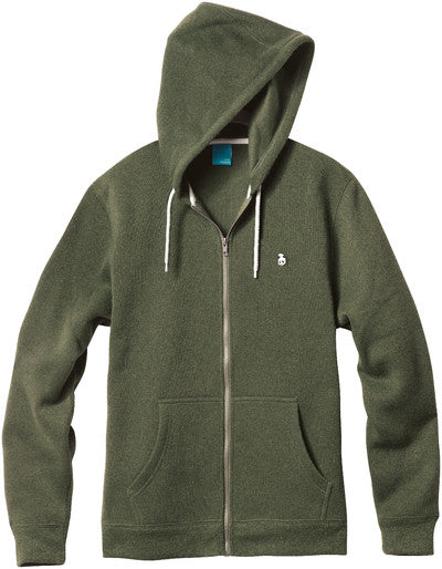 Enjoi Grip And Zip Custom Fleece - Heather Army Green - Men's Sweatshirt