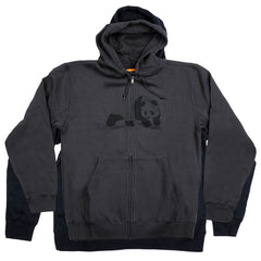 Enjoi Easy Panda Print Zip-up Hooded - Charcoal - Men's Sweatshirt