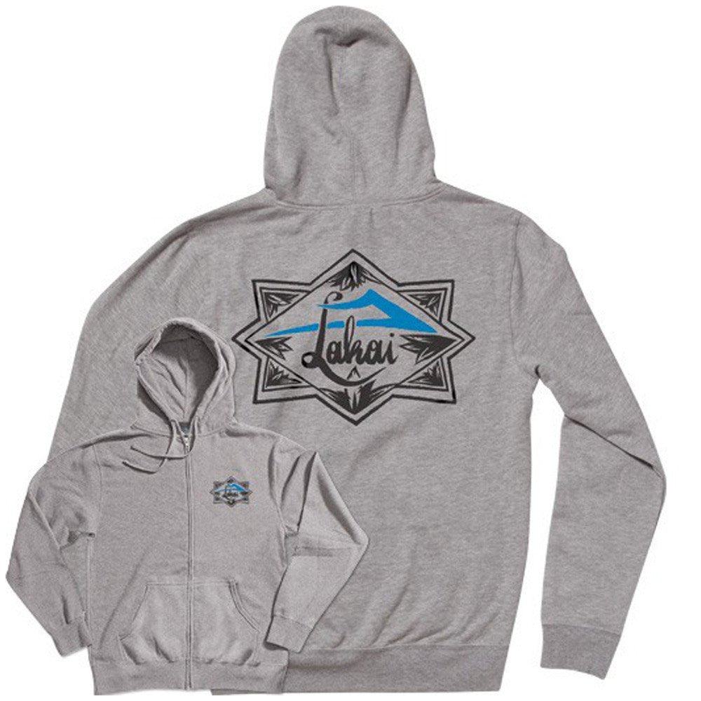 Lakai Script Zip-Up Hooded - Heather Grey - Men's Sweatshirt