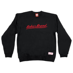 Baker Brand Script Crew Neck - Black - Men's Sweatshirt