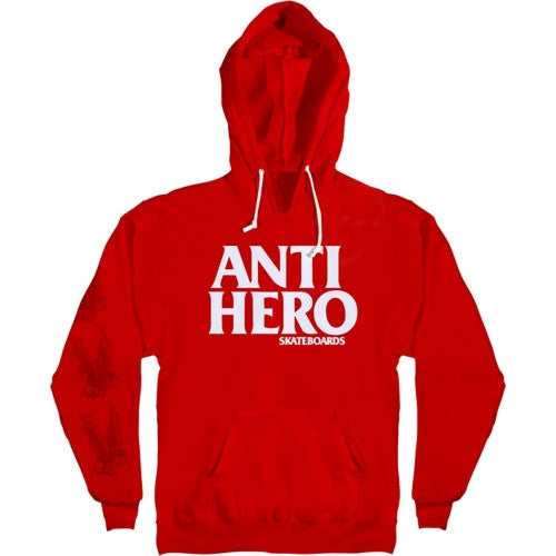 Anti-Hero Black Hero Pullover Hoodie - Red/White - Men's Sweatshirt
