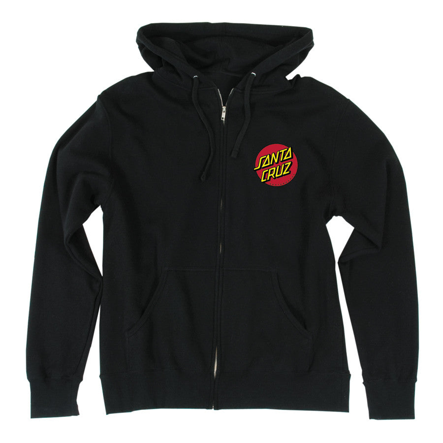 Santa Cruz Classic Dot Hooded Zip L/S - Black - Mens Sweatshirt