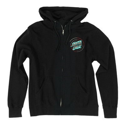 Santa Cruz Recoil Dot Hooded Zip L/S - Black - Men's Sweatshirt