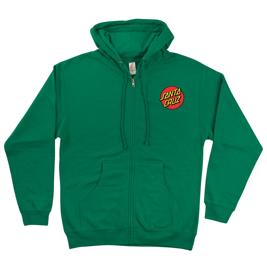Santa Cruz Classic Dot Hooded Zip Long Sleeve - Kelly Green - Mens Sweatshirt