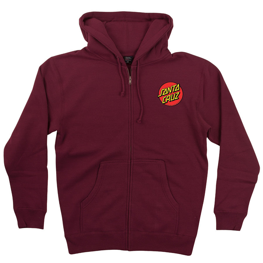 Santa Cruz Classic Dot Hooded Zip Long Sleeve - Maroon - Mens Sweatshirt
