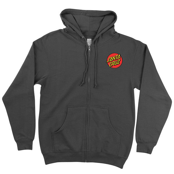 Santa Cruz Classic Dot Hooded Zip L/S - Charcoal - Mens Sweatshirt