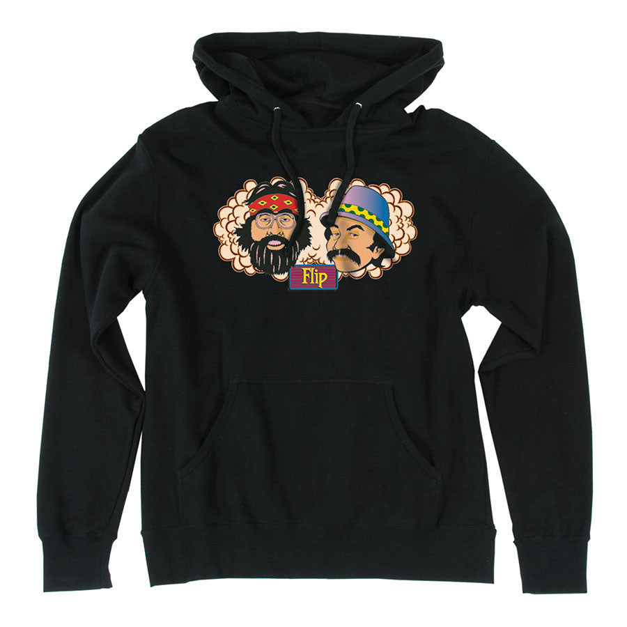 Flip Cheech and Chong Pullover Hooded L/S - Black - Mens Sweatshirt