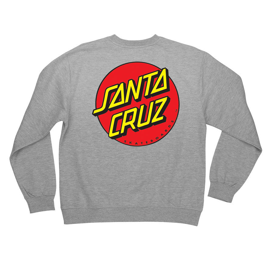 Santa Cruz Classic Dot Crew Neck L/S - Grey Heather- Men's Sweatshirt